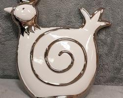 0019 Poule blanche/argentée