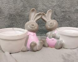 0006 Couple lapin pot de fleur