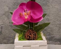 0004 Pot blanc avec fleur fuchsia (lumineux)