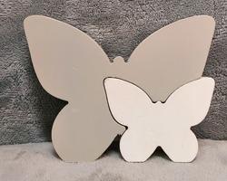 0002 Papillon en bois gris/blanc