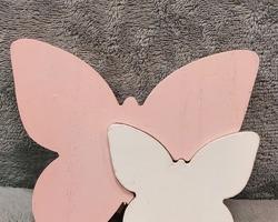 0003 Papillon en bois rose/blanc
