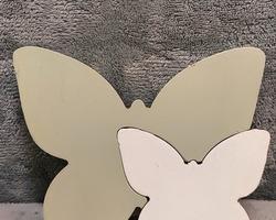 0004 Papillon en bois vert/blanc