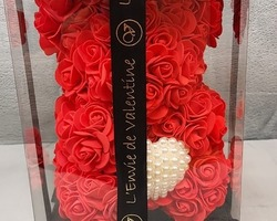 Article 0044 Petit ours rouge (coussin perles)