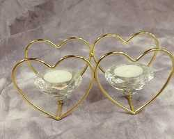 Article 0060 Double bougeoir cœur diamant